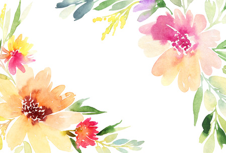Greeting card. Watercolor flowers background Banque d'images