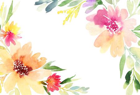 Tarjeta de felicitación. Flores de la acuarela de fondo Foto de archivo - 44094969