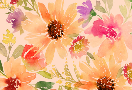 mixed flower bouquet: Greeting card. Watercolor flowers background Stock Photo