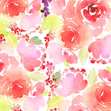 swirl pattern: Greeting card. Watercolor flowers background Stock Photo