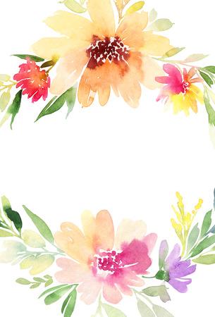 Greeting card. Watercolor flowers background Stock fotó