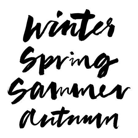 winter time: Spring, summer, autumn, winter. Calligraphy. Illustration