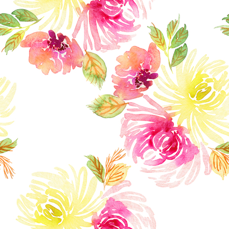 Seamless pattern with flowers watercolor. Gentle colors. Female pattern. Handmade. 스톡 콘텐츠