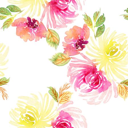 Seamless pattern with flowers watercolor. Gentle colors. Female pattern. Handmade. Stock fotó