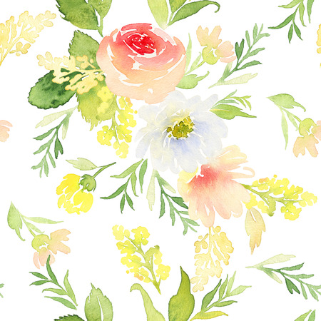 retro floral: Seamless pattern with flowers watercolor. Gentle colors. Female pattern. Handmade. Stock Photo