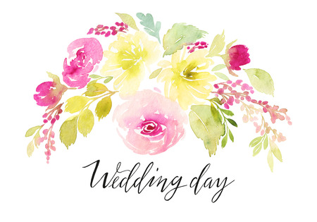 floral ornaments: Card for the holiday. Weddings, Mothers Day, birthday. Watercolor flowers background. Handmade.