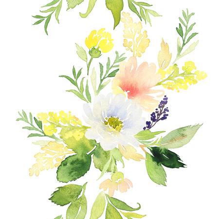 Seamless pattern with flowers watercolor. Gentle colors. Female pattern. Handmade. 版權商用圖片