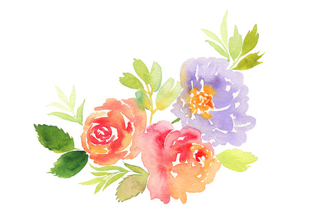 Card for the holiday. Weddings, Mother's Day, birthday. Watercolor flowers background. Handmade.