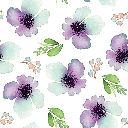 retro fashion: Seamless pattern with flowers watercolor. Gentle colors. Female pattern. Handmade. Stock Photo