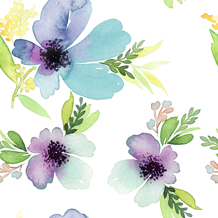 pastel drawing: Seamless pattern with flowers watercolor. Gentle colors. Female pattern. Handmade. Stock Photo