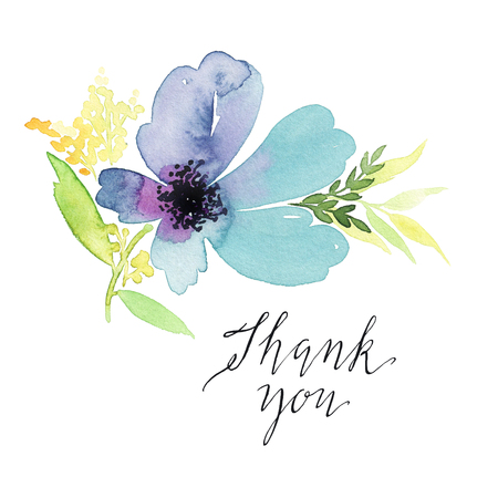 Greeting card. Watercolor flowers background Stock Photo