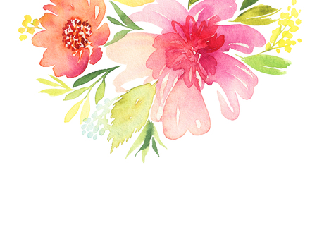 Greeting card. Watercolor flowers background 写真素材