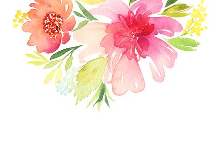 dibujos de flores: Tarjeta de felicitación. Flores de la acuarela de fondo
