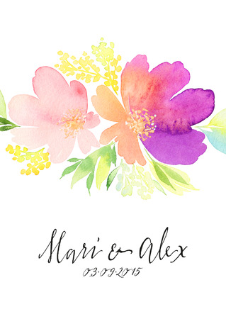 flor violeta: Tarjeta de felicitación. Flores de la acuarela de fondo
