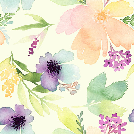 Seamless pattern with flowers watercolor. Gentle colors. Female pattern. Handmade. Stok Fotoğraf - 45715129