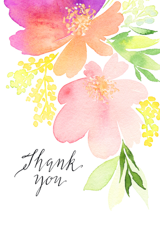 Greeting card. Watercolor flowers background Archivio Fotografico