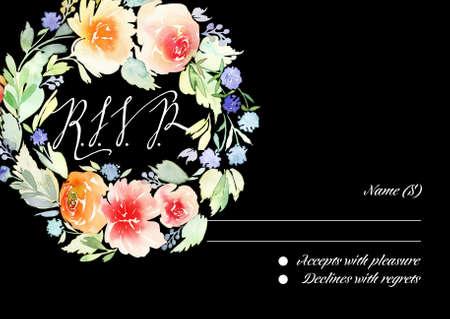 rsvp: RSVP card suite with watercolor frame. Wedding, invitation card. Elegance pattern with flowers. Vintage illustration.