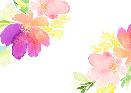 인사말 카드. 수채화 꽃 배경 스톡 콘텐츠