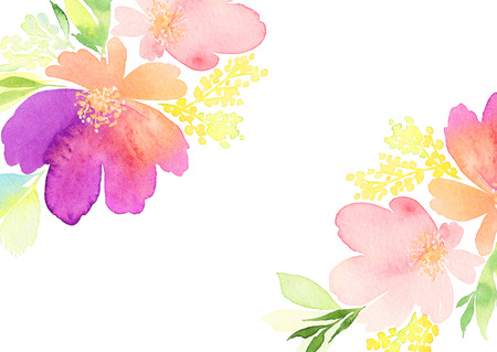 Greeting card. Watercolor flowers background Zdjęcie Seryjne