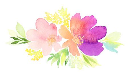 グリーティング カード。水彩の花背景