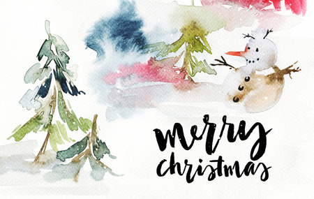 Christmas card. Watercolor. Snowman in the forest. 스톡 콘텐츠