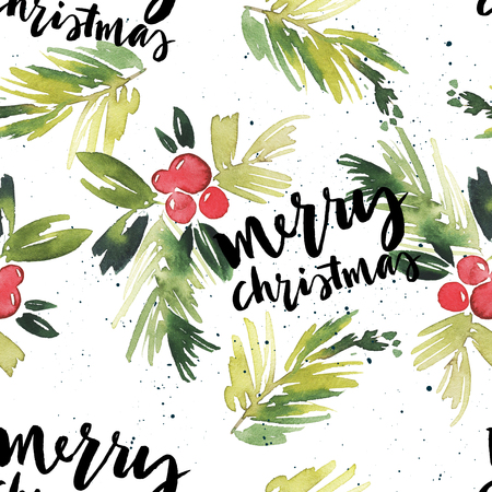 seasons greeting card: Watercolor Christmas seamless pattern