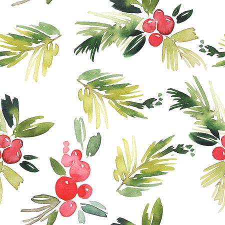 muerdago: Acuarela Navidad sin patrón