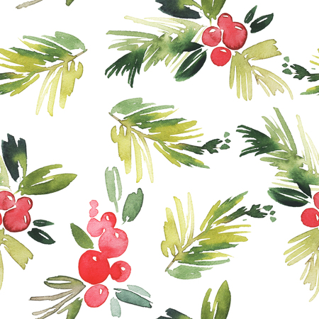 holly leaf: Watercolor Christmas seamless pattern