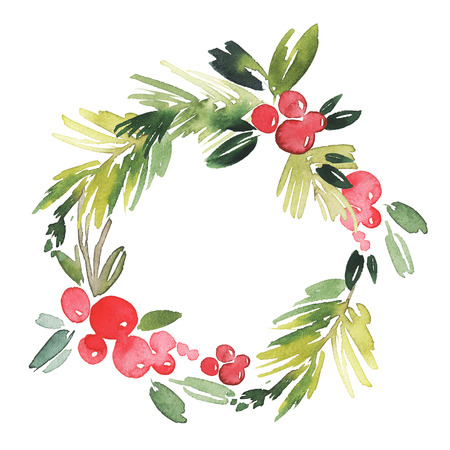 december holiday: Christmas wreath watercolor. Handmade. Holiday card.