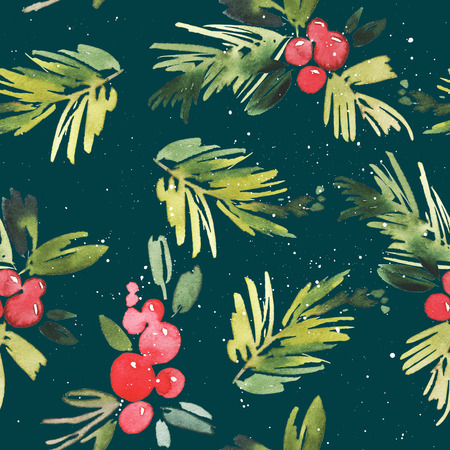 retro christmas: Watercolor Christmas seamless pattern