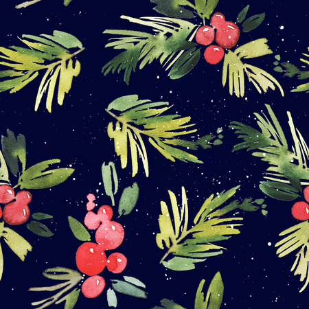 design drawing: Watercolor Christmas seamless pattern