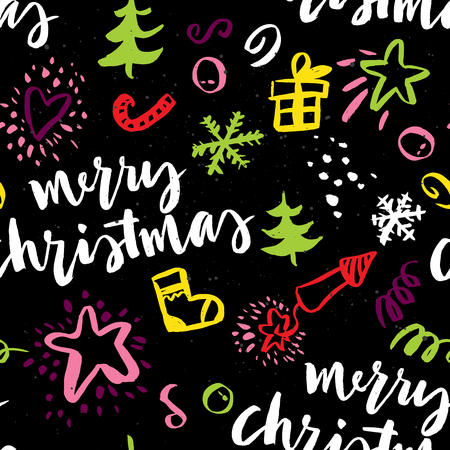 christmas element: Seamless Christmas pattern. The pattern is painted with a brush.