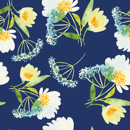 Seamless pattern with flowers watercolor. Gentle colors. Female pattern. Handmade. Imagens