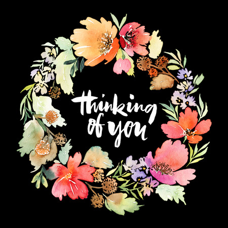 circle flower: Wreath wedding watercolor. Handmade. Greeting card Stock Photo