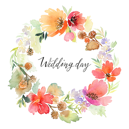 Wreath wedding watercolor. Handmade. Greeting card Archivio Fotografico