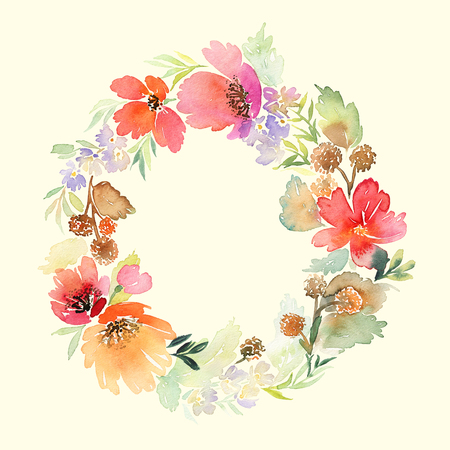 circle flower: Wreath wedding watercolor. Handmade. Greeting card Stock Photo