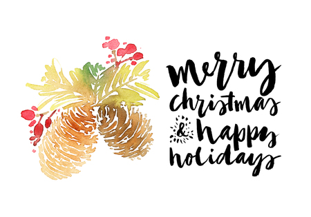 happy holidays: Christmas card. Watercolor Stock Photo