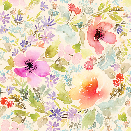 Seamless spring pattern. Watercolor painting. Well suited for the wrapping paper and tissue. Handmade. Flowers. Stock Photo - 47109915