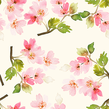 small: Seamless spring pattern. Watercolor painting. Well suited for the wrapping paper and tissue. Handmade. Flowers.