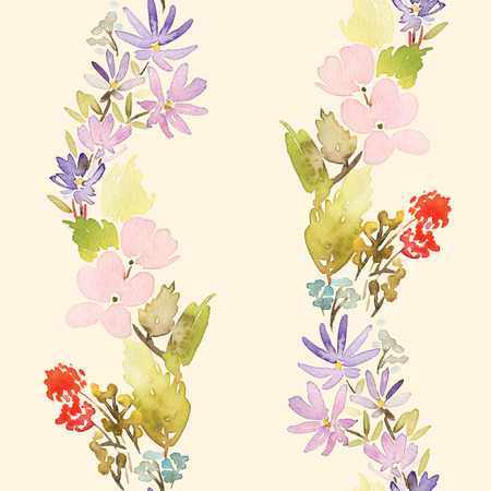 sateen: Seamless spring pattern. Watercolor painting. Well suited for the wrapping paper and tissue. Handmade. Flowers.
