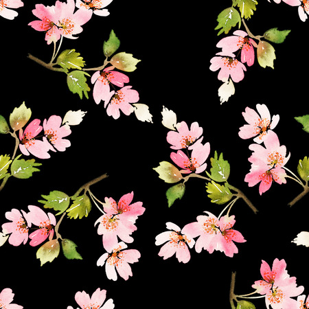small plant: Seamless spring pattern. Watercolor painting. Well suited for the wrapping paper and tissue. Handmade. Flowers.
