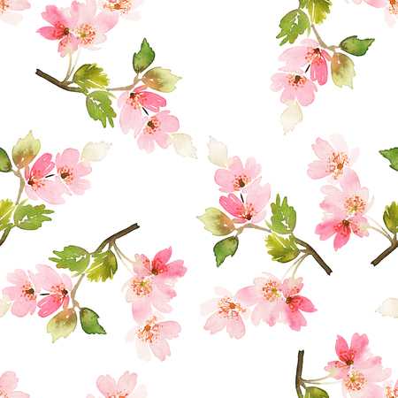 Seamless spring pattern. Watercolor painting. Well suited for the wrapping paper and tissue. Handmade. Flowers.