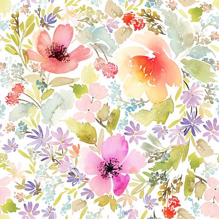 Naadloze voorjaar patroon. Schilderen van de waterverf. Zeer geschikt voor het inpakpapier en weefsel. Handgemaakt. Bloemen.