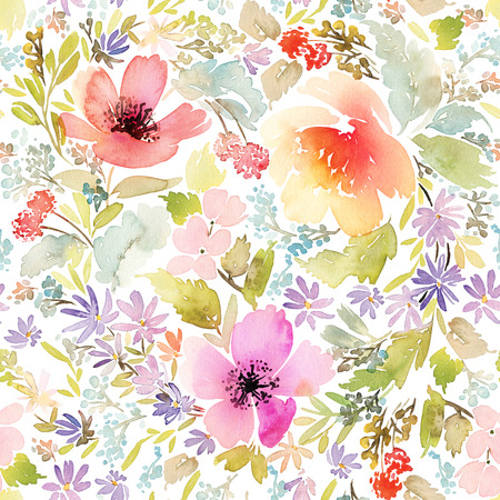 textiles: Seamless spring pattern. Watercolor painting. Well suited for the wrapping paper and tissue. Handmade. Flowers.