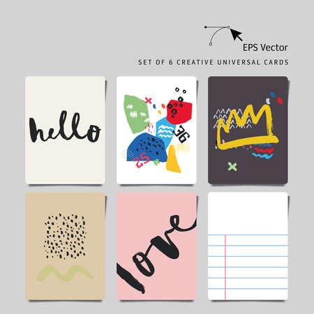 universal love: Conjunto de 6 tarjetas creativas universales. Letras de la mano. Resumen de antecedentes. Amor. Hello.Vector. Aislados. Vectores