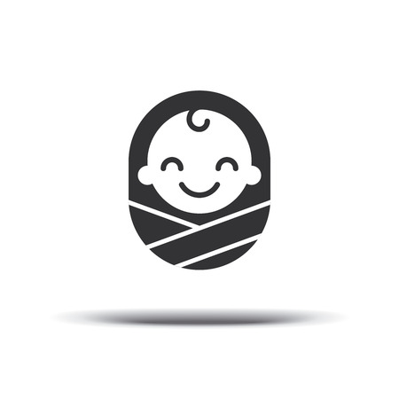 Logo design baby, cheerful joyful kid. Logo design template. Design icon vector. Isolated on a white background.