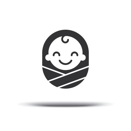 Logo ontwerp baby, vrolijke vrolijke jongen. Logo ontwerpsjabloon. Ontwerp pictogram vector. Geïsoleerd op een witte achtergrond. Stock Illustratie