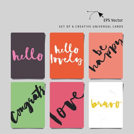 universal love: Conjunto de 6 tarjetas creativas universales. letras de la mano. Vector. Aislado. Amor. Hola. Felicitaciones. Sea feliz. Bravo. Hola amor.
