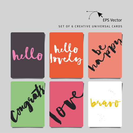 bravo: Set of 6 universal creative cards. Hand lettering. Vector. Isolated. Love. Hello. Congratulations. Be happy. Bravo. Hello lovely.