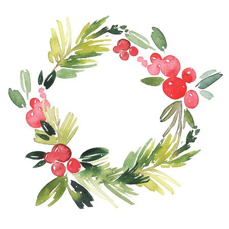 Kerstkrans aquarel. Handgemaakt. Vakantiekaart. Stockfoto